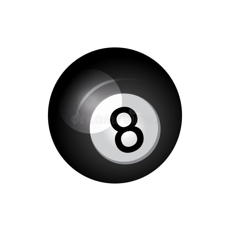 Icona nera della palla da biliardo illustrazione di stock