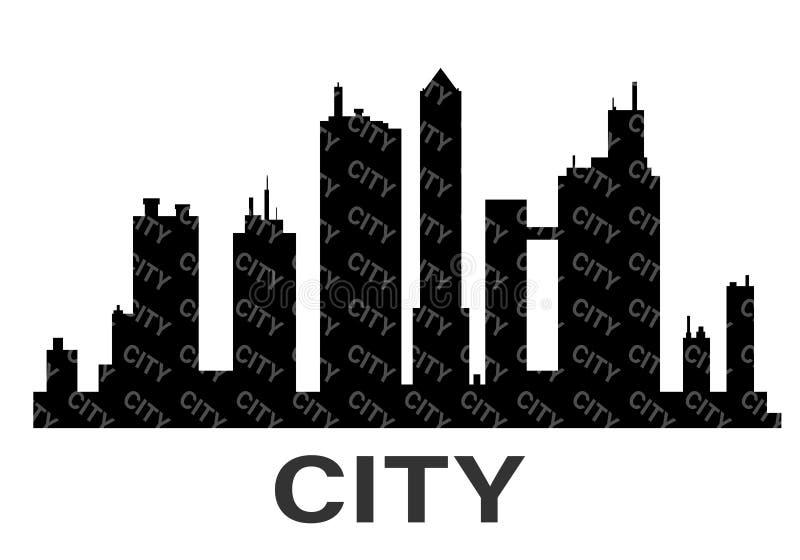 Icona nera della siluetta della città di vettore illustrazione vettoriale