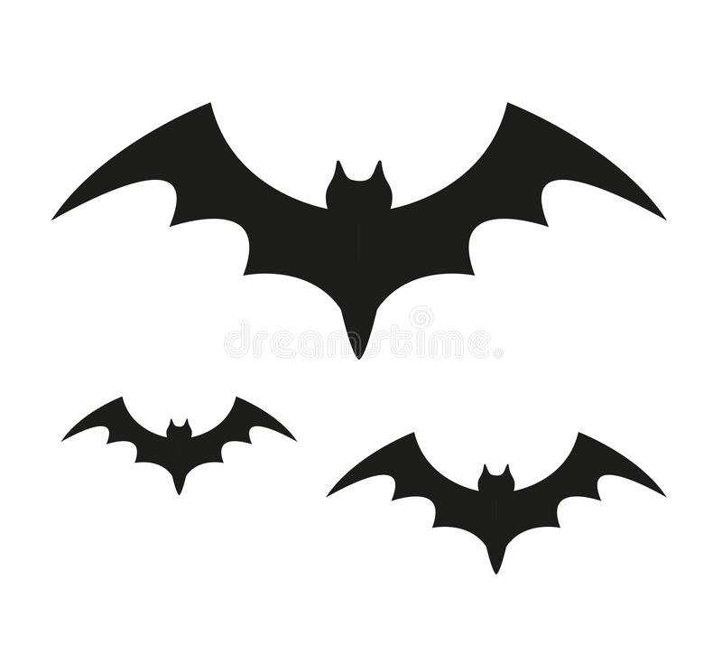 Icona nera della siluetta del pipistrello Isolato su priorità bassa bianca Concetto di Halloween Flittermouse spaventoso Illustra royalty illustrazione gratis