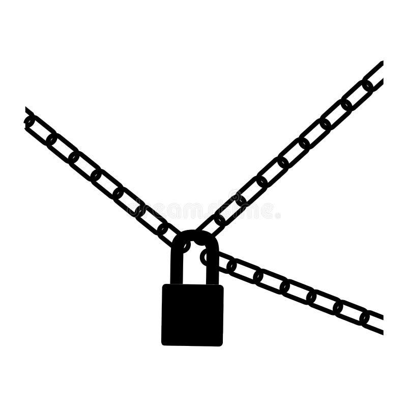 icona nera delle catene del lucchetto e del metallo della siluetta illustrazione vettoriale