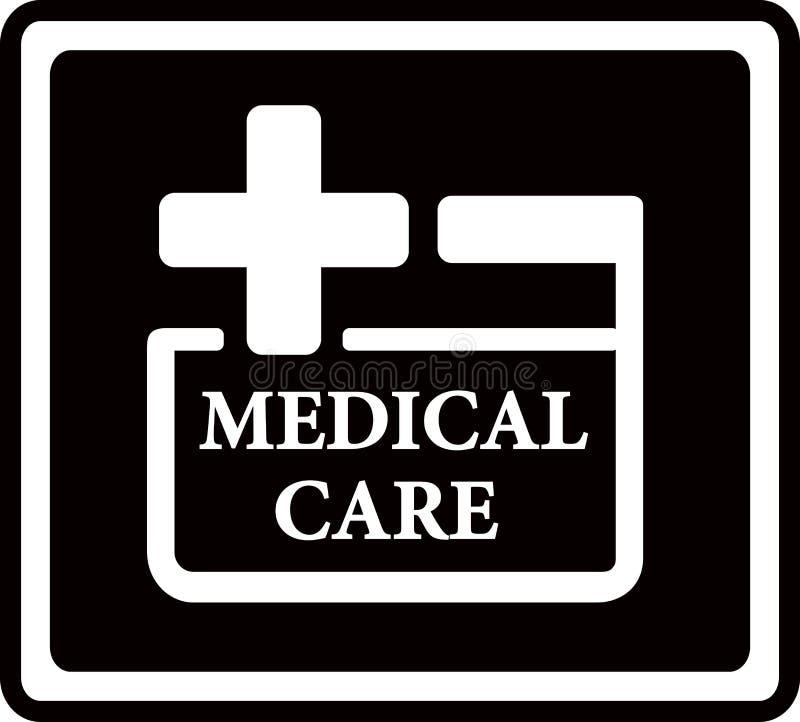 Icona nera di assistenza medica illustrazione vettoriale