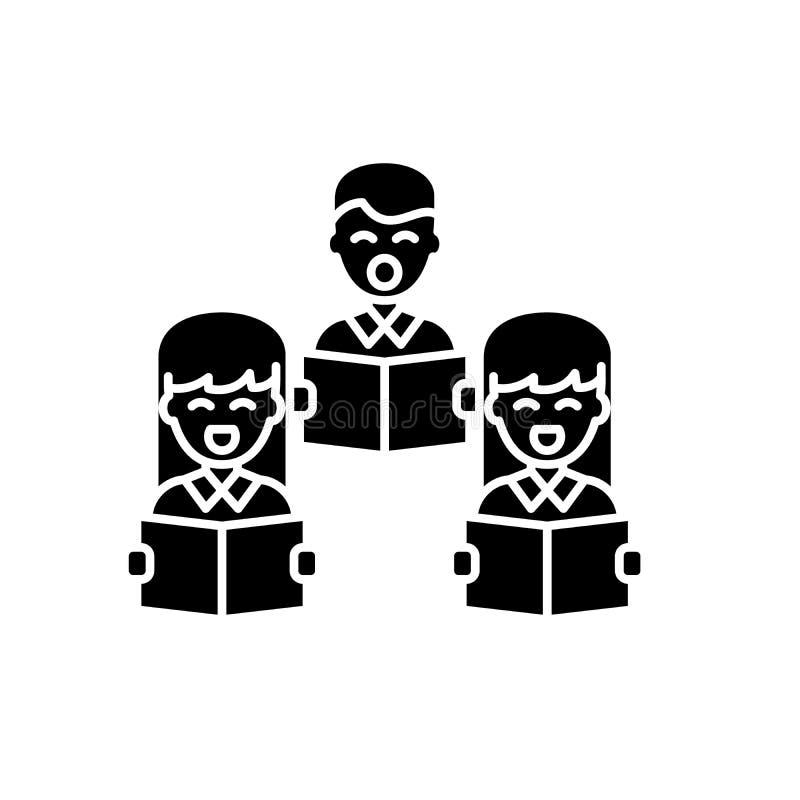 Icona nera di canto corale, segno di vettore su fondo isolato Simbolo corale di concetto di canto, illustrazione illustrazione vettoriale