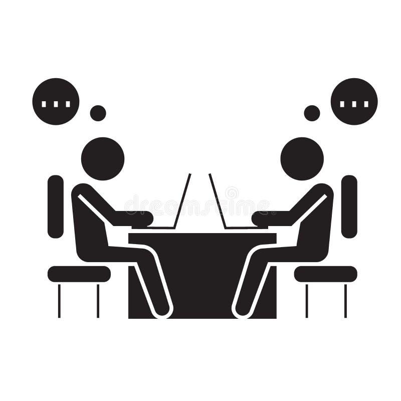Icona nera di concetto di vettore dei colleghe dell'ufficio Illustrazione piana dei colleghe dell'ufficio, segno royalty illustrazione gratis