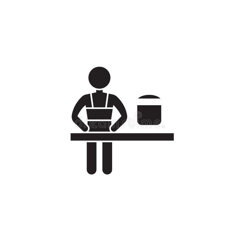 Icona nera di concetto di vettore della classe di cottura Illustrazione piana della classe di cottura, segno illustrazione vettoriale