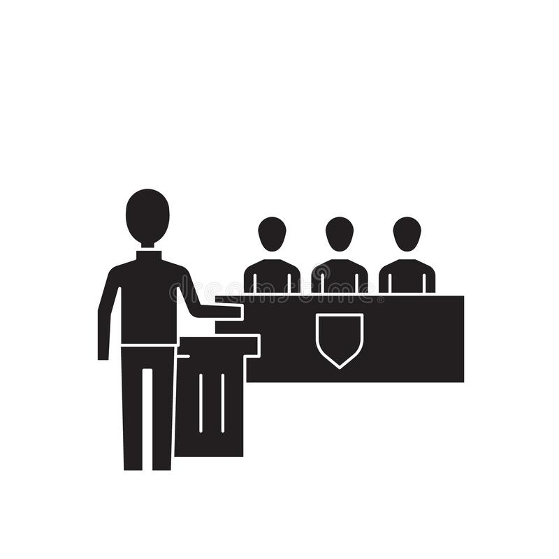 Icona nera di concetto di vettore di discorso della piattaforma Illustrazione piana di discorso della piattaforma, segno illustrazione vettoriale
