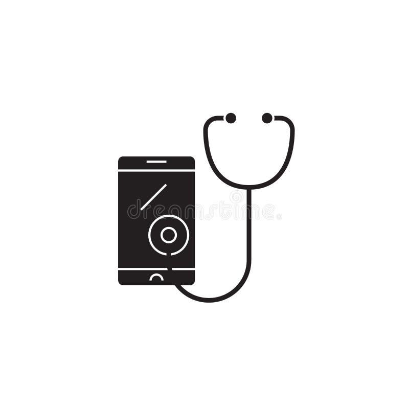 Icona nera di concetto di vettore di telemedicina Illustrazione piana di telemedicina, segno royalty illustrazione gratis
