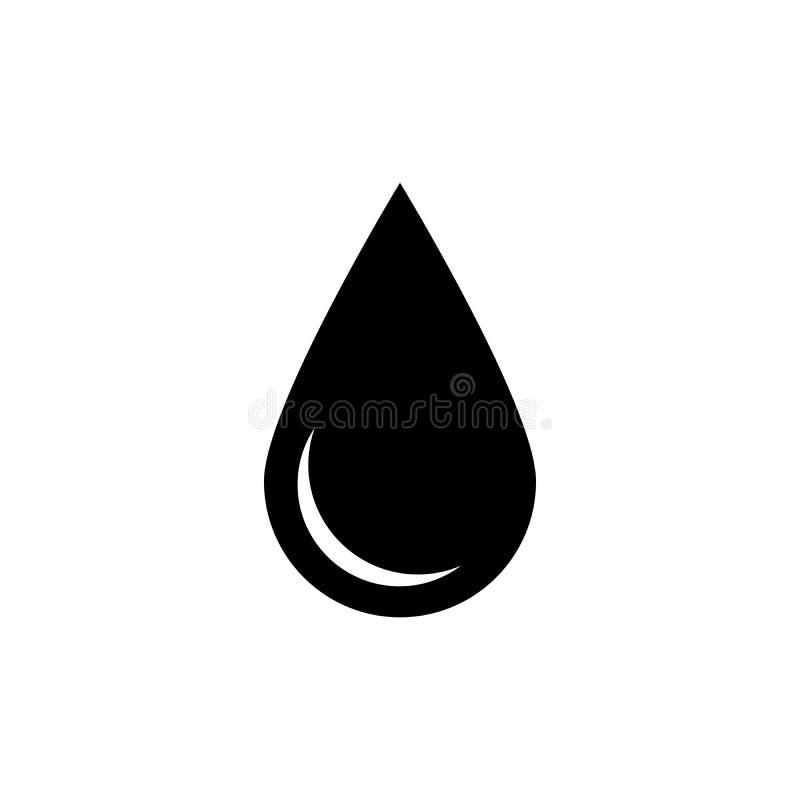 Icona nera di goccia Simbolo dell'acqua o del petrolio Illustrazione piana semplice di vettore con ombra isolata su fondo bianco illustrazione vettoriale