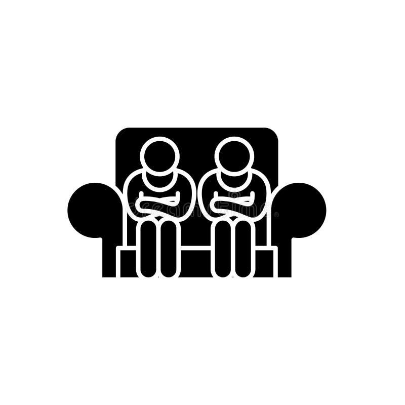Icona nera di servizio di assistenza al cliente, segno di vettore su fondo isolato Simbolo di concetto di servizio di assistenza  royalty illustrazione gratis