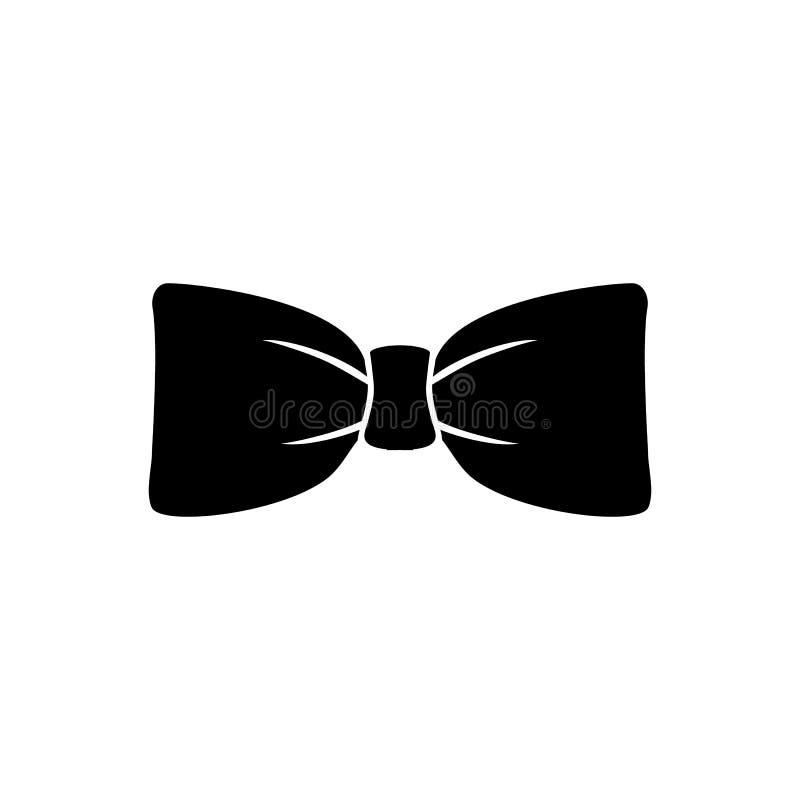 Icona nera di vettore della cravatta a farfalla isolata su bianco royalty illustrazione gratis
