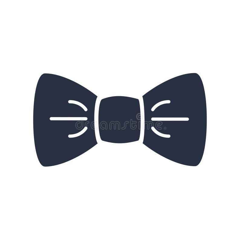 Icona nera di vettore della cravatta a farfalla isolata su fondo bianco Logo degli accessori del signore Concetto ufficiale del v royalty illustrazione gratis