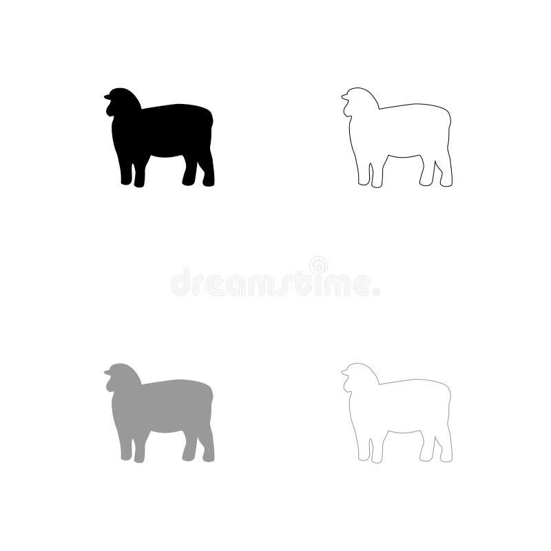 Icona nera e grigia della siluetta delle pecore dell'insieme royalty illustrazione gratis