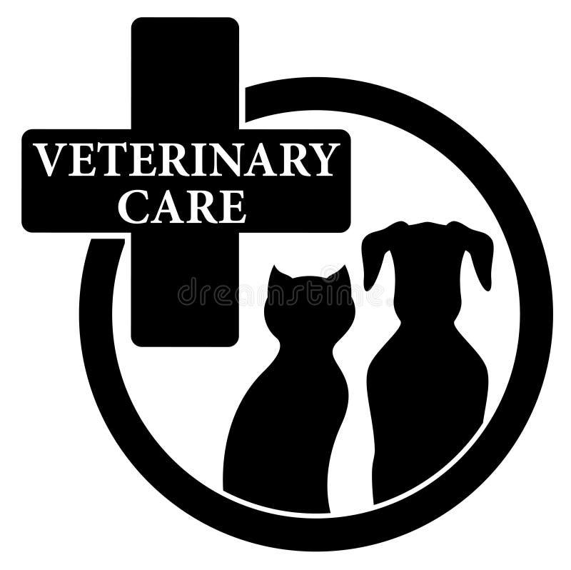 Icona nera isolata con il simbolo veterinario di cura illustrazione di stock