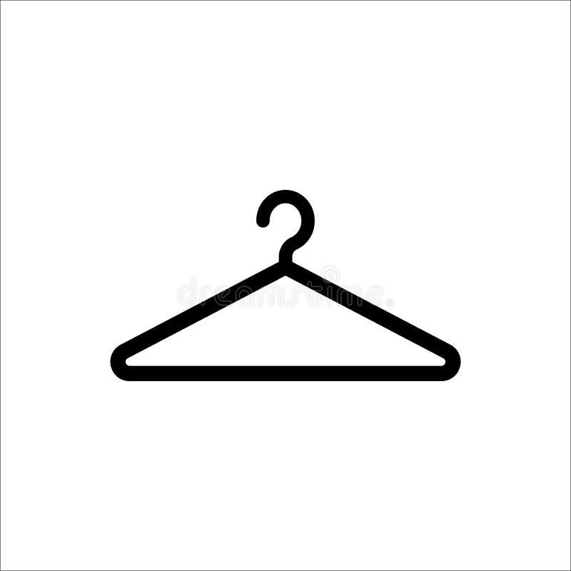 Icona nera semplice del gancio Simbolo del guardaroba e del guardaroba illustrazione vettoriale