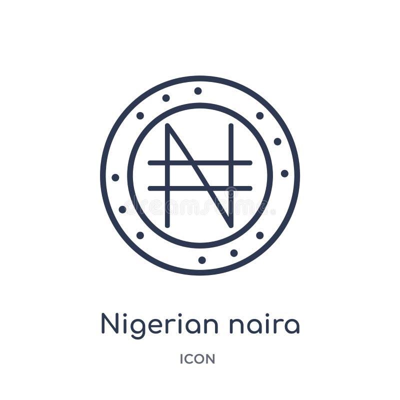 Icona nigeriana lineare di naira dalla raccolta del profilo dell'Africa Linea sottile vettore nigeriano di naira isolato su fondo royalty illustrazione gratis