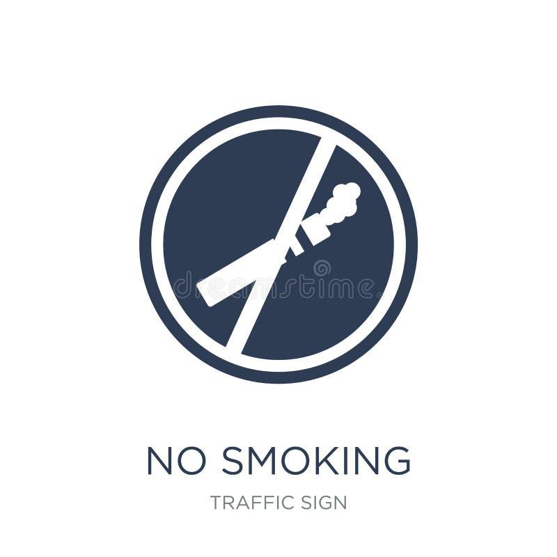 Icona non fumatori del segno Icona non fumatori del segno di vettore piano d'avanguardia sopra illustrazione di stock