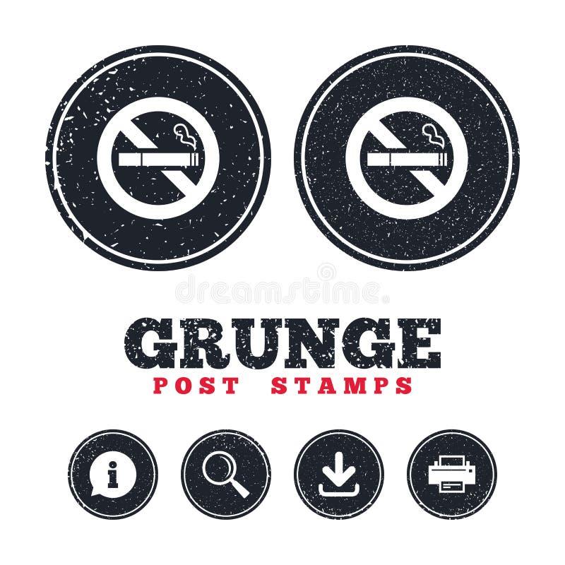Icona non fumatori del segno Simbolo della sigaretta illustrazione vettoriale