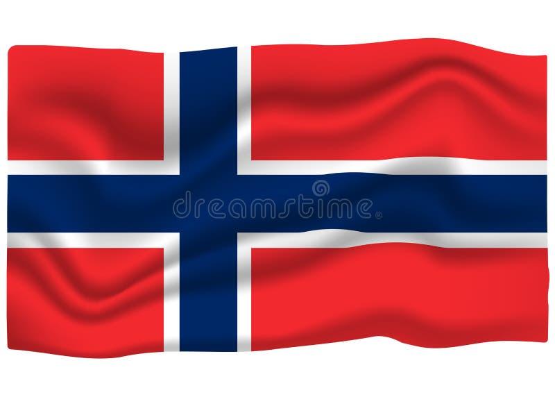 Icona norvegese della bandiera Insegna della bandiera nazionale Illustrazione di vettore del fumetto illustrazione di stock