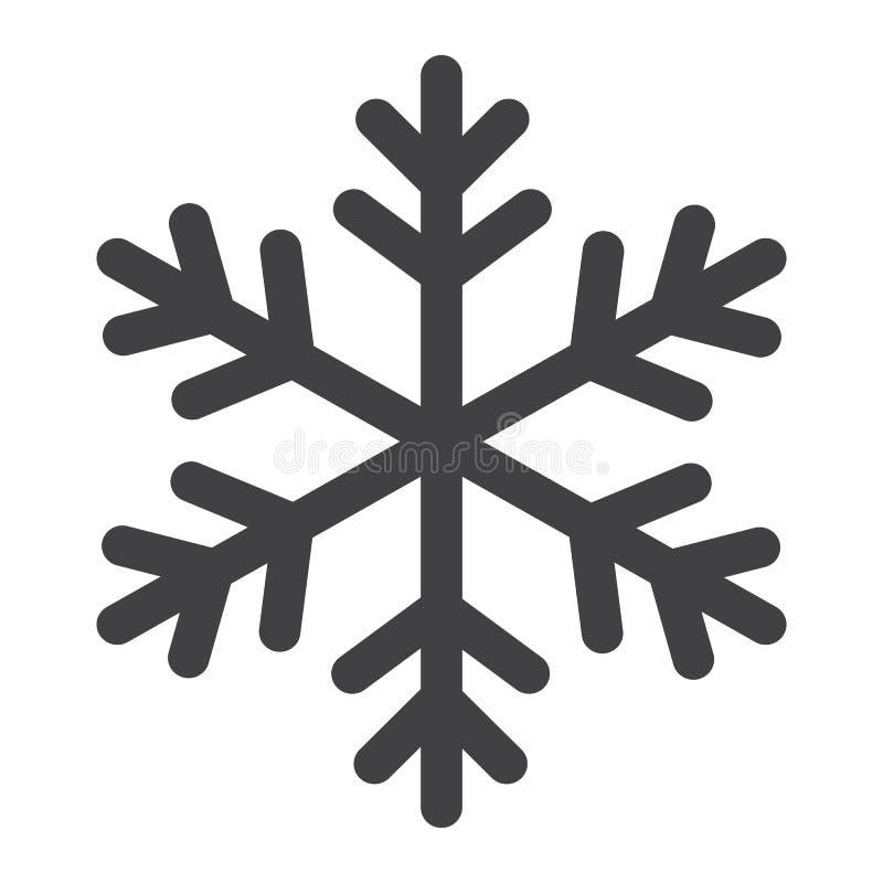 Icona, nuovo anno e Natale di glifo del fiocco di neve illustrazione vettoriale