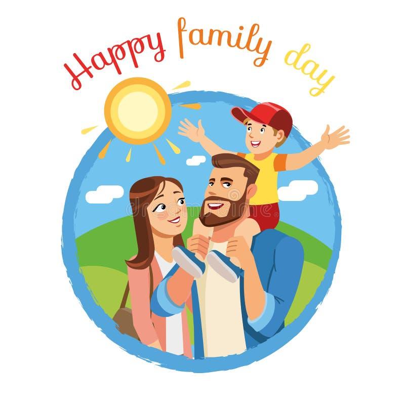 Icona o concetto felice di vettore del fumetto di giorno della famiglia illustrazione di stock