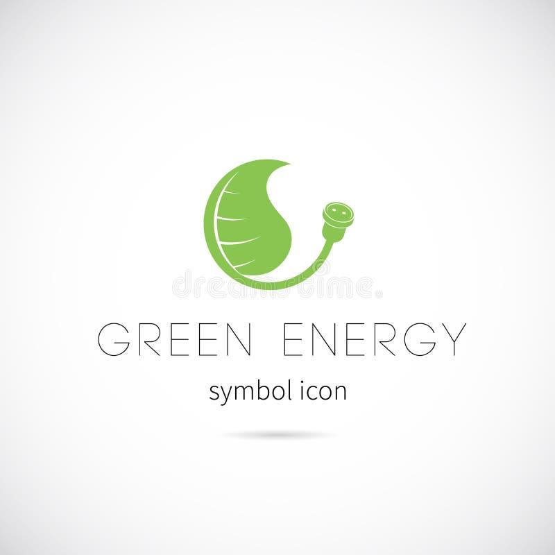 Icona o etichetta verde di simbolo di concetto di vettore di energia royalty illustrazione gratis