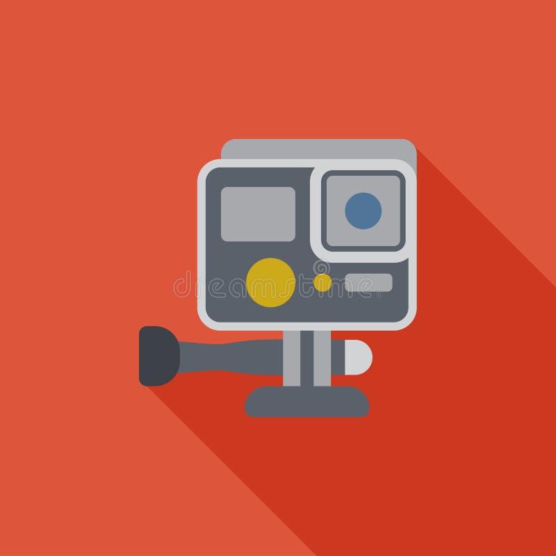Icona o illustrazione della videocamera nello stile piano illustrazione vettoriale
