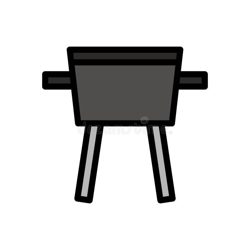 Icona o illustrazione di logo di vettore di estate del barbecue della griglia Colpo editabile e colore Uso perfetto per il grafic illustrazione di stock