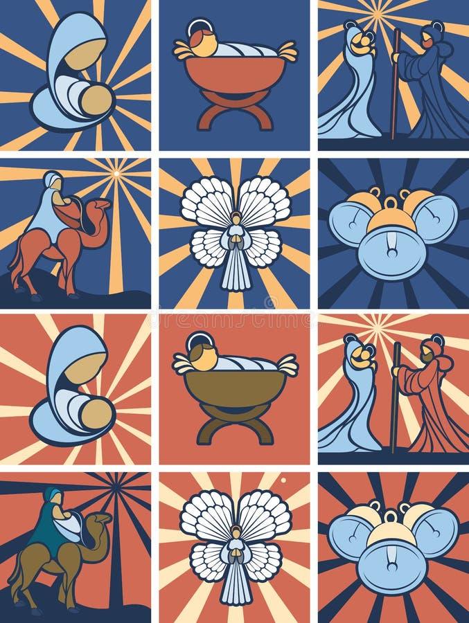 Icona o insieme di simboli di natività illustrazione di stock