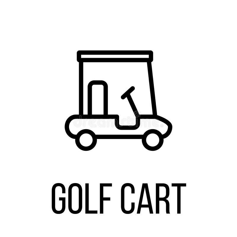 Icona o logo del carretto di golf nella linea stile moderna illustrazione di stock