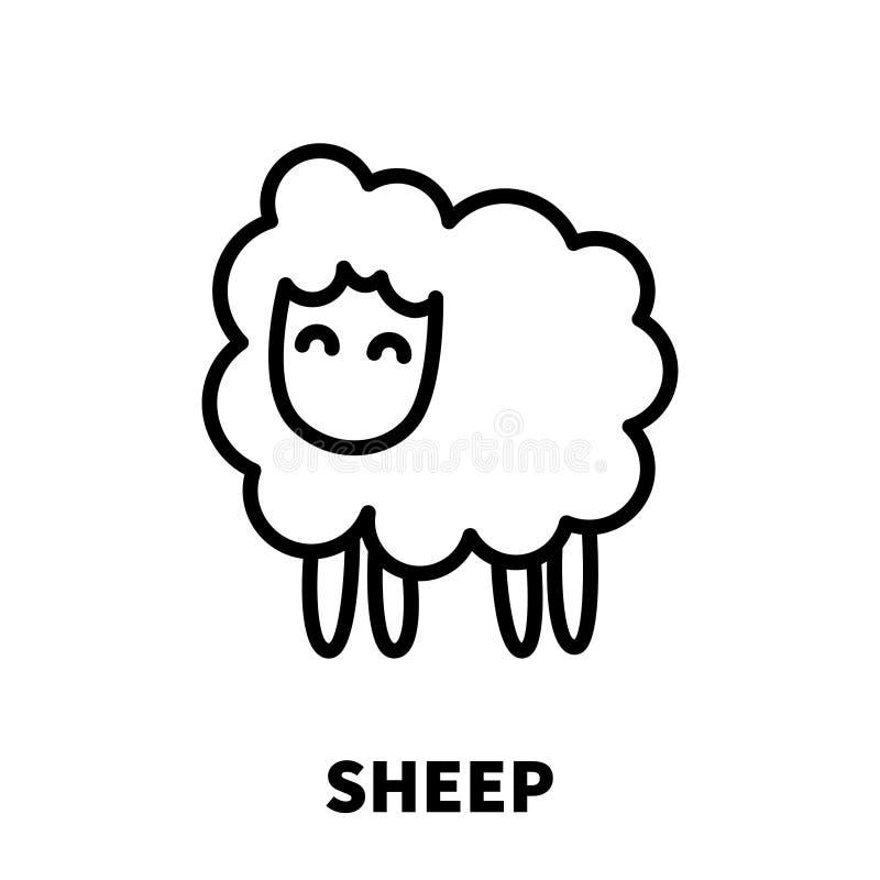 Icona o logo delle pecore nella linea stile moderna illustrazione di stock