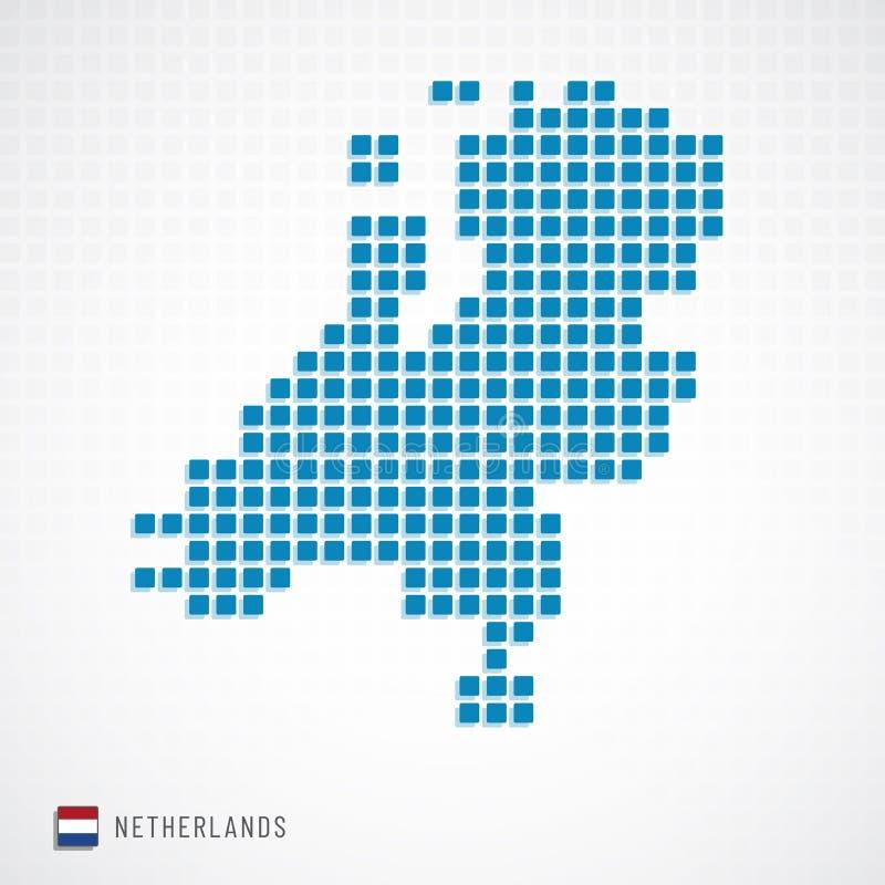 Icona olandese della bandiera e della mappa illustrazione vettoriale