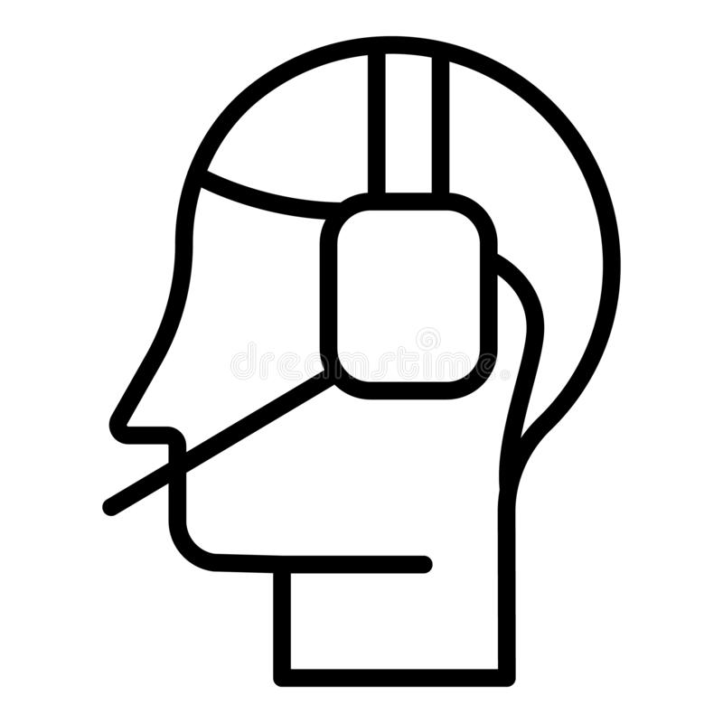 Icona online della call center, stile del profilo illustrazione di stock