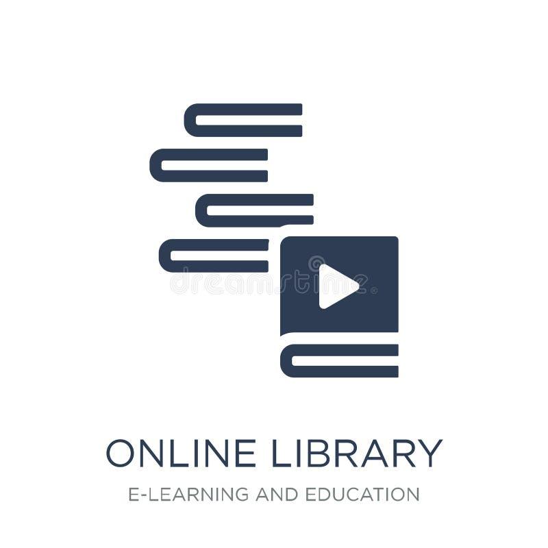 Icona online delle biblioteche Icona online della biblioteca di vettore piano d'avanguardia su w illustrazione vettoriale