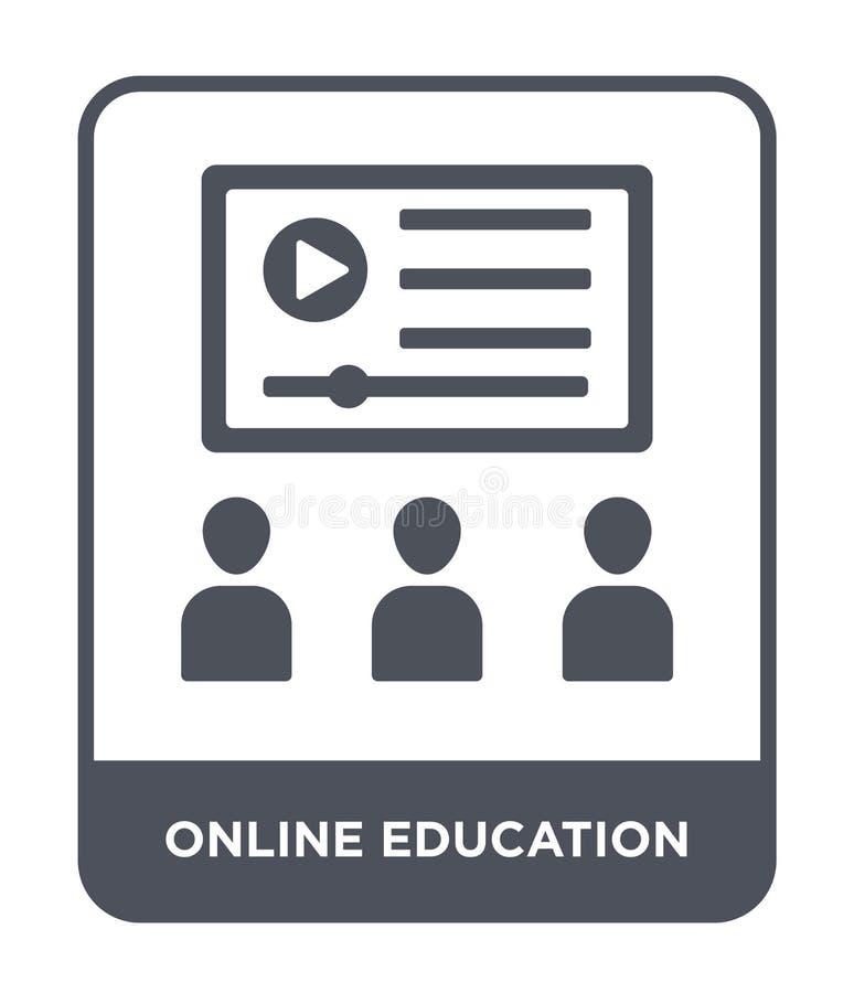 icona online di istruzione nello stile d'avanguardia di progettazione icona online di istruzione isolata su fondo bianco Icona on illustrazione vettoriale