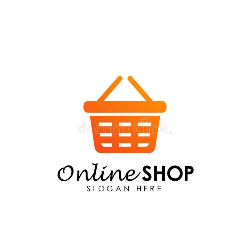 icona online di vettore di progettazione di logo del negozio progettazioni di logo del cestino della spesa illustrazione vettoriale