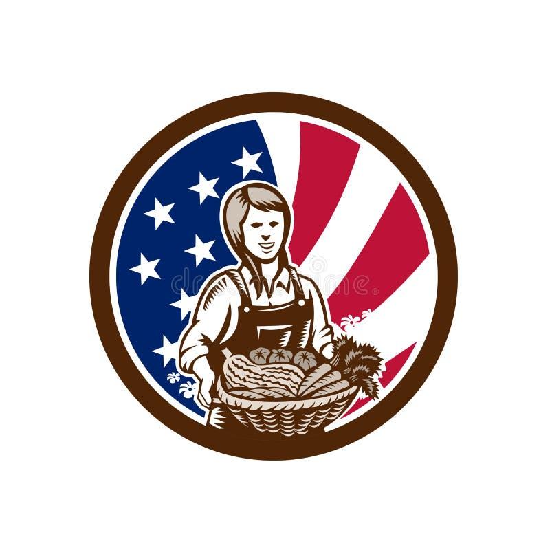 Icona organica femminile americana della bandiera di U.S.A. dell'agricoltore royalty illustrazione gratis