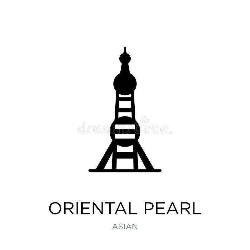 icona orientale della torre della perla nello stile d'avanguardia di progettazione icona orientale della torre della perla isolat illustrazione di stock