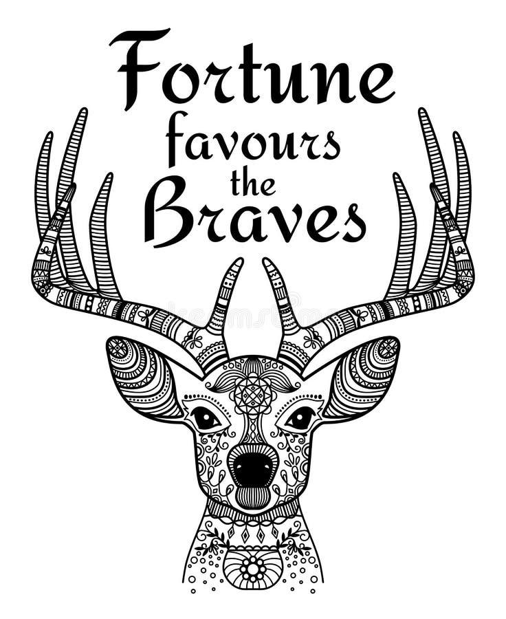 Icona ornamentale nera dei cervi con testo royalty illustrazione gratis