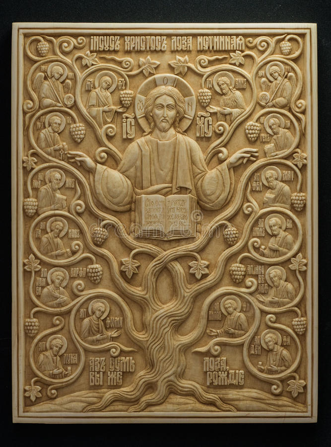 Icona ortodossa scolpita dalla zanna mastodontica fotografie stock libere da diritti