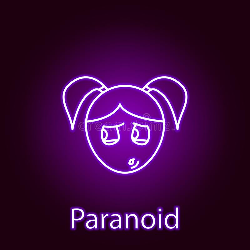 icona paranoica del fronte della ragazza nello stile al neon Elemento delle emozioni per l'illustrazione mobile dei apps di web e illustrazione vettoriale
