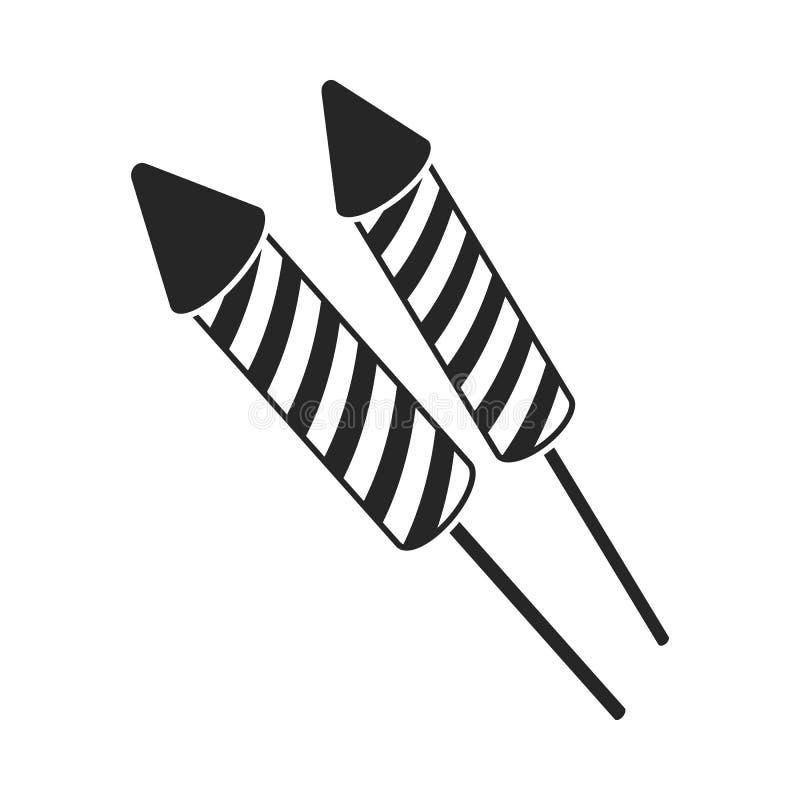 Icona patriottica dei fuochi d'artificio nello stile nero isolata su fondo bianco Illustrazione di vettore delle azione di simbol illustrazione vettoriale