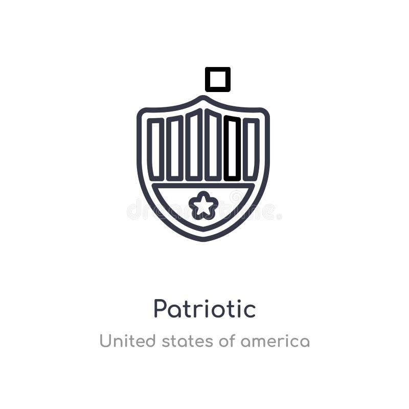 icona patriottica del profilo linea isolata illustrazione di vettore dalla raccolta degli Stati Uniti d'America colpo sottile edi illustrazione di stock