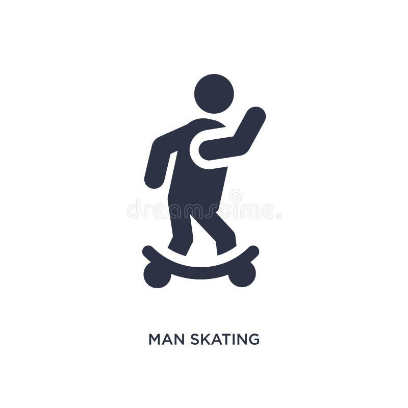 icona pattinante dell'uomo su fondo bianco Illustrazione semplice dell'elemento dal concetto di comportamento illustrazione vettoriale