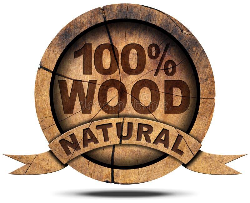 Icona 100 per cento di legno naturale illustrazione di stock