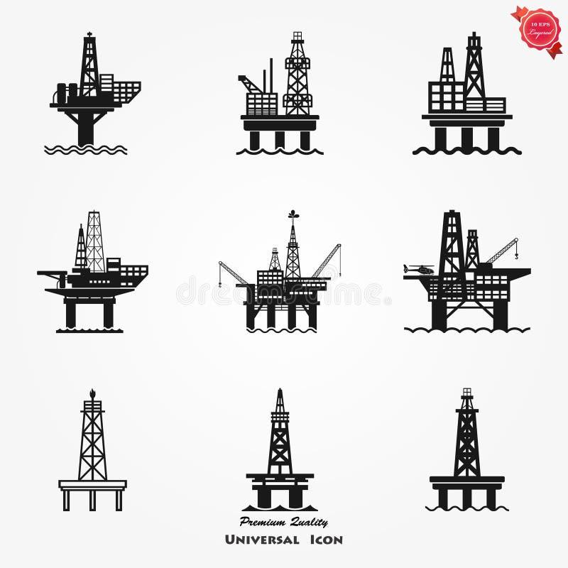 Icona per il web, mare Rig Platform Illustration, simbolo della piattaforma petrolifera del gas di produzione del combustibile illustrazione vettoriale