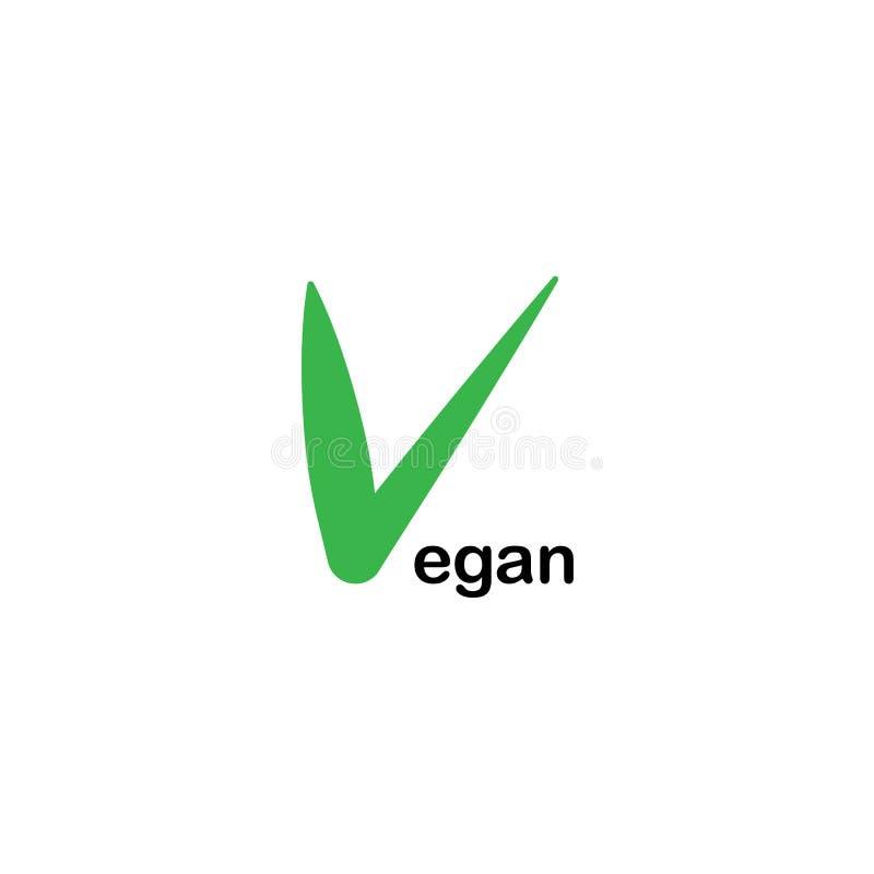 Icona per l'alimento del vegano Bio-, ecologia, logos organico e distintivi, etichetta, etichetta illustrazione vettoriale