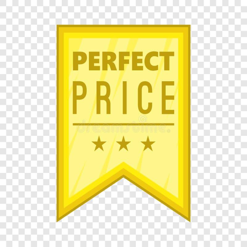 Icona perfetta dello stendardo di prezzi, stile del fumetto illustrazione di stock