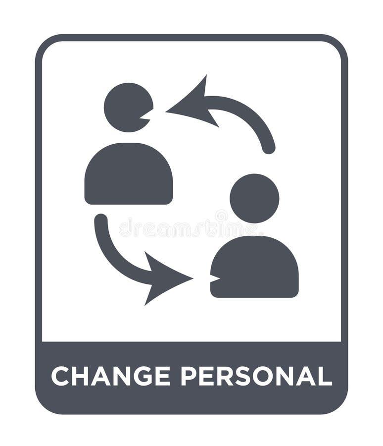 icona personale del cambiamento nello stile d'avanguardia di progettazione icona personale del cambiamento isolata su fondo bianc illustrazione vettoriale