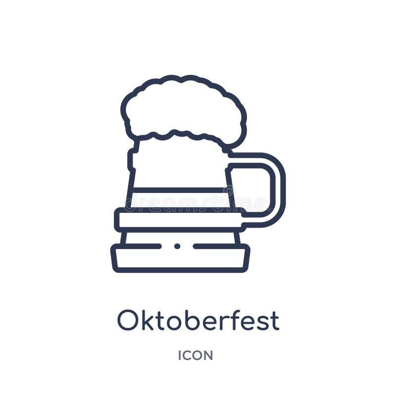 Icona più oktoberfest lineare dalla raccolta del profilo dell'alcool Linea sottile vettore più oktoberfest isolato su fondo bianc royalty illustrazione gratis