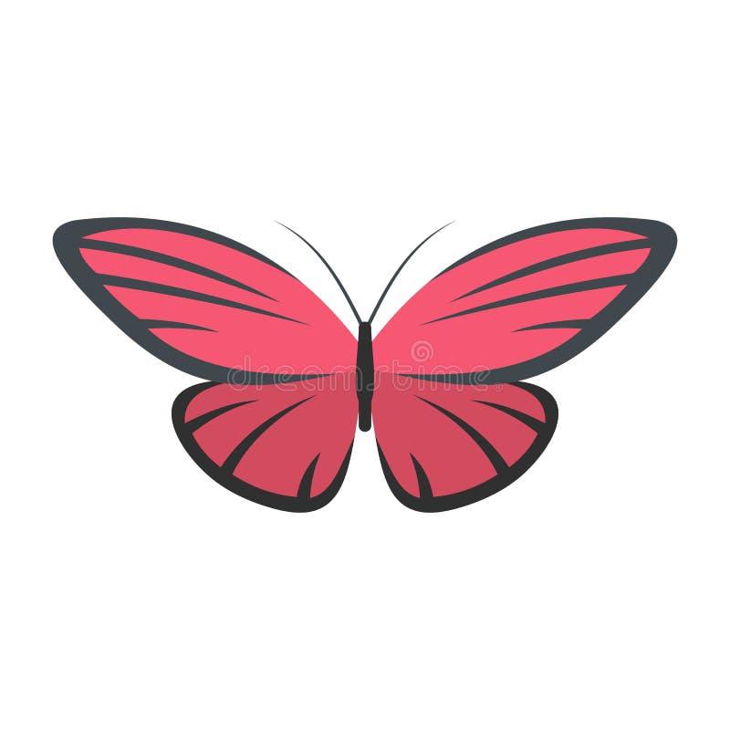 Icona piacevole della farfalla, stile piano illustrazione di stock