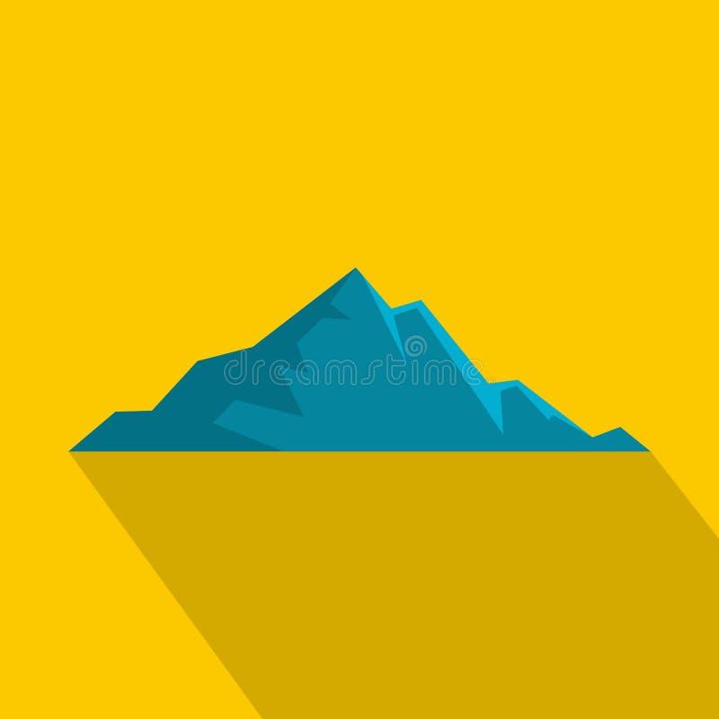 Icona piacevole della montagna, stile piano illustrazione di stock